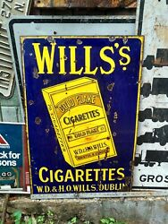 Very Very Rare Wills Cigarette Vintage Porcelain Sign 1917.. Ireland