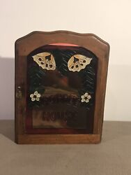 Vintage Stained Glass Spice / Curio Cabinet Wall Mount Cabinet