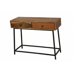 39 L Two Drawer Console Table Hand Crafted Solid Mango Wood Metal Frame