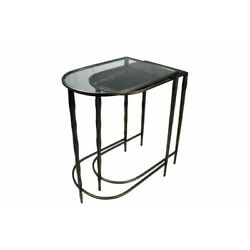 25 W Nesting Tables Glass Marble Top Antique Brass Metal Twisted Legs Modern