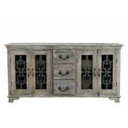 72 L Sideboard Rustic Hand Crafted Solid Mango Wood Cast Iron Detailed Doors