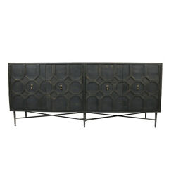 71 L Sideboard Distressed Black Recycled Solid Wood Cabinet Iron Base Rustic