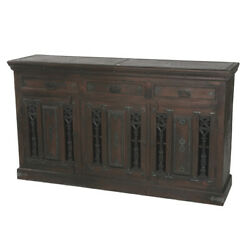 72 L Cooper Sideboard Cast Iron Doors Solid Acacia Wood Cabinetry Traditional