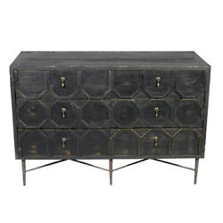 48 W Dresser Sideboard Six Drawers Recycled Pine Solid Wood Iron Base Rustic