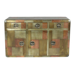 55 L Sideboard Modern Industrial Mixed Metals Grey Copper Brass 3 Drawers