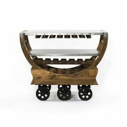 47 L Bar Trolley Bottle And Glass Storage Solid Mango Wood With Industrial Metal