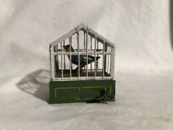 German Penny Toy Wind Up Singing Bird In Cage
