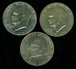 1976-p-d T1 Eisenhower Dollar All Gem Bu Some Toned 11-p And 9-d