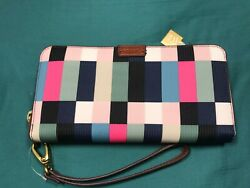 Fossil Bright Multi Checkered Emma Large RFID Zip Wallet Clutch Phone Wristlet $57.00