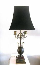 Henry Cahieux And Ferdinand Barbedienne Antique Bronze Candelabra Lamp With Shade