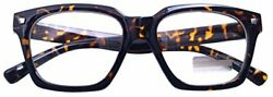 Vintage Inspired Small Nails Square Clear Lens Glasses (Tortoise7428Clear)