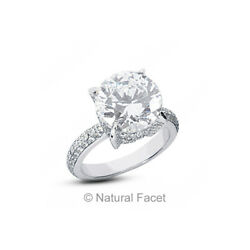 7.40ct DVS1 Round Cut Natural Certified Diamonds White Gold Classic Accent Ring