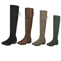 Womens Ladies Thigh High Boots Over The Knee Party Stretch Block Mid Heel 5-11