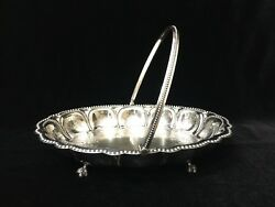 Antique Mcpherson Brothers Glasgow 1983 Silverplated Oval Centerpiece Basket