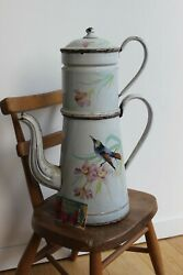 Vintage French Enamelware Coffee Pot Likely Japy Bird And Flower Very Large 16