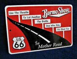Route 66 Burma Shave - Us Made Embossed Metal Sign - Man Cave Garage Bar Decor