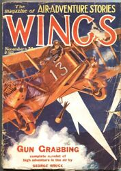 Wtngs-nov 1928-fiction House Pulp-air Adventures-biplane Bombing Cover