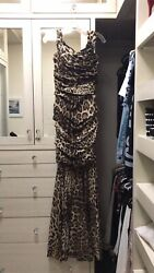 Dolce And Gabbana Ruched Leopard Silk Maxi Gown Dress Mermaid It40 38 Small