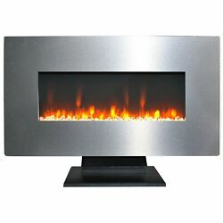 Camfp Cam36wmef-1ss 36 Wall Mount And Free Standing Electric Fireplace W/ Logs