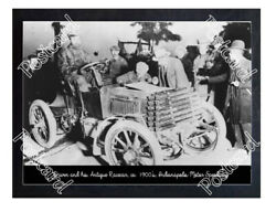 Historic Driver And His Antique Racecar Ca. 1900and039s Indy Postcard