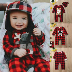 MY First Christmas Baby Boy Xmas Plaid Romper Bodysuit Jumpsuit Clothes Outfits