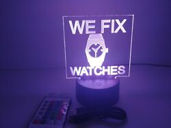 Engraving Acrylic Sign Message We Fix Watches For Retail Stores And Shops Rgb