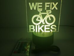 Engraving Acrylic Sign Message We Fix Bikes For Retail Stores And Shops Rgb