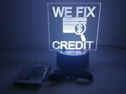 Engraving Acrylic Sign Message We Fix Credit For Retail Stores And Shops Rgb