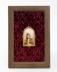 Antique Religious Porcelain Plaque Mounted In Copper Frame Nun Angel Vision 13