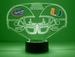 Florida, Miami House Divided Personalized, College Football Led Sports Fan Lamp