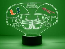 Miami, Florida State House Divided Personalized College Football Sports Fan Lamp
