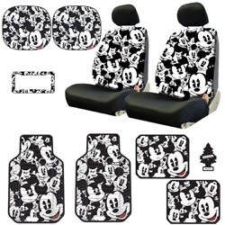 For Hyundai New Mickey Mouse 14pc Car Seat Covers Floor Mats And Accessories Set