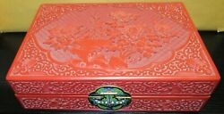 Chinese Floral Bird Carved Cinnabar Lacquer Cloisonne Enamel Jewelry Trunk Box