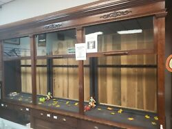 7 ANTIQUE CRAFTED WOOD - GLASS PULL DOWN CABINETS