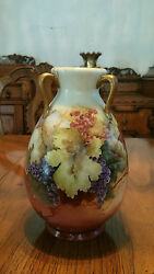 Fabulous Haviland Hand Painted 3 Handled Vase Currants/grapes Signed Perkins