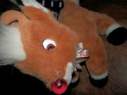 Adorable 1999 Rudolph Red Nosed Reindeer Musical Plush 15 Nose Lights Up