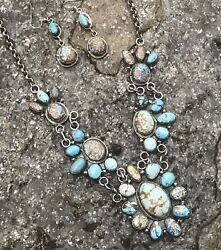 Navajo Golden Hills Turquoise And Sterling Silver Necklace Set Signed