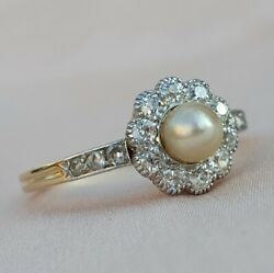 Late Edwardian Pearl Diamond Gold Ring   Antique Diamond Daisy Cluster Ring 1920