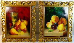 Fine Antique Pair Of Fruit Still Life Paintings Signed
