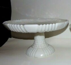 Portieux Vallerysthal Very Rare Opale / Milk Glass Rome Pattern Cake Salver