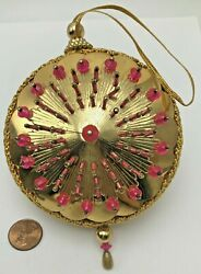 Vintage Handmade Beaded Sequin Push Pin Christmas Ornament Pink Gold West German