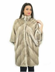 46 mink cape ice woman with cross processing mandarin collar and mirrored button