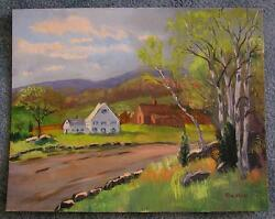 AMERICANA FOLK ART WHITE HOUSE BLACKSTONE VALLEY ORIGINAL SITE INDIANS PAINTING