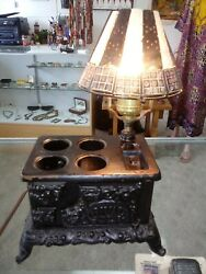 Cast Iron Stove Lamp Rival Electric With Real Bone Lampshade Rare