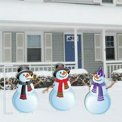 Christmas Snowmen Stand Up Yard Sign Decorations - Free Shipping