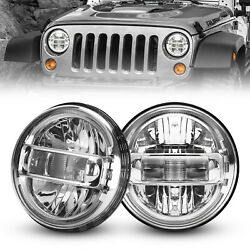 Chorme 7and039and039 Round Halo H4 Led Headlights For Jeep Wrangler Jk Tj Cj Jl 1997-2018