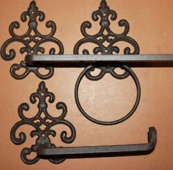 3 Vintage Look French Victorian Bath Accessory Set, Towel Ring Bar Tp Hold, Sf