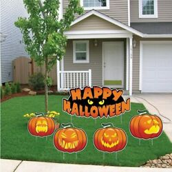 Happy Halloween Scary Pumpkins Halloween Lawn Decoration Set Of 5 - Free Shippin