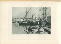 ANTIQUE SAINT TROPEZ FRANCE VILLAGE BEACH CLIPPER MAST SHIP BOAT NAUTICAL PRINT