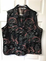 Chicos Black Vest wRed Chinese Designs.  SilkRayon. Size 3